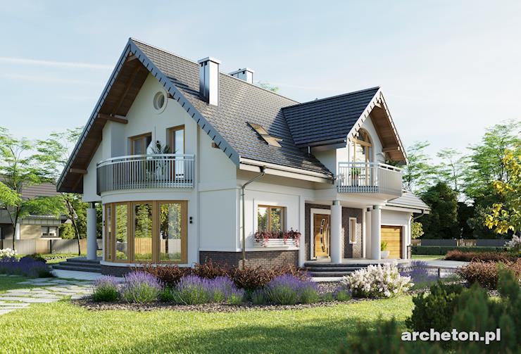 Projekt domu Heliodor - przestronny dom o atrakcyjnej sylwetce, z przeszklonym wykuszem jadalnianym