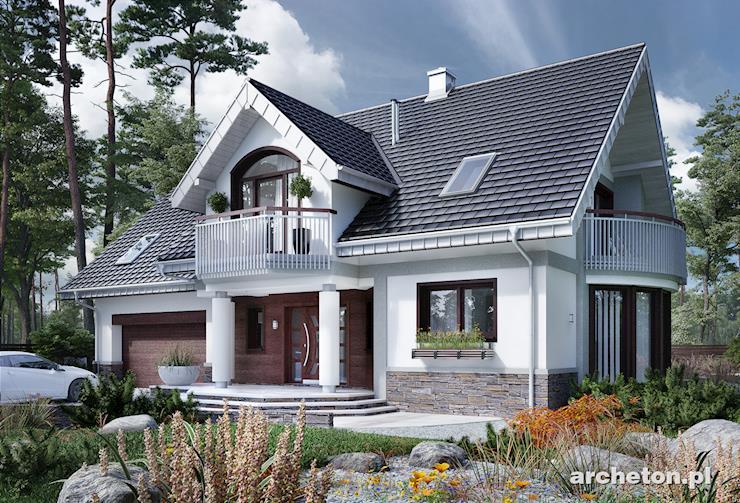 Projekt domu Heliodor As - okazały dom, z garażem dwustanowiskowym i przeszklonym salonem