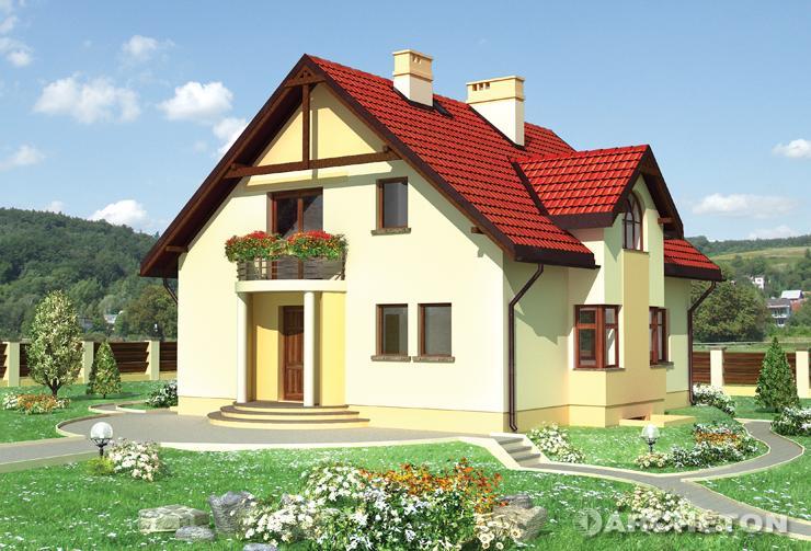 Projekt domu Helion - prosty dom zaakcentowany kolistymi balkonami