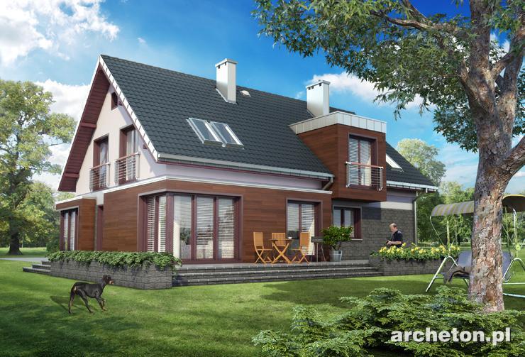 Projekt domu Helios - modernistyczny dom, z dużym tarasem wokół domu