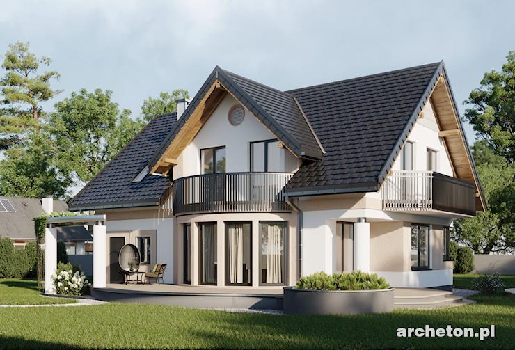 Projekt domu Heliotrop G1 - atrakcyjny dom z użytkowym poddaszem, z ciekawym przeszkleniem w salonie