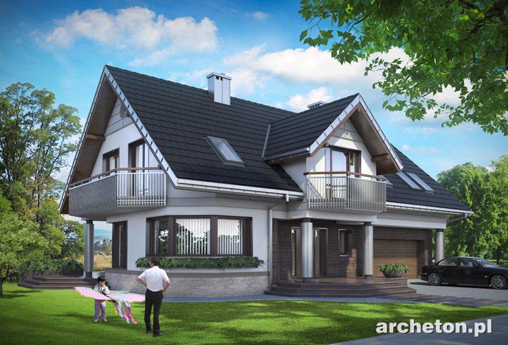 Projekt domu Heliotrop Max - duży dom, z kolumnami od strony frontu i garażem dwustanowiskowym