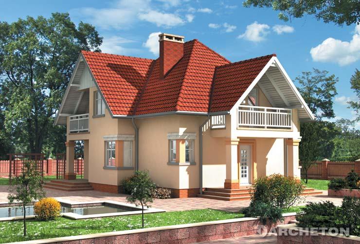Projekt domu Horacy - Średniej wielkości dom o urozmaiconej bryle nakrytej dachem czterospadowym