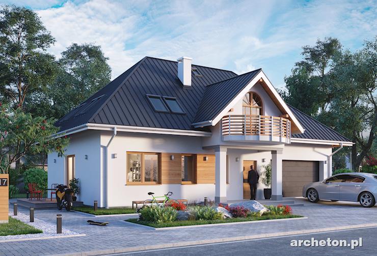 Projekt domu Horeszko - dom w stylu dworkowym z garażem na dwa samochody