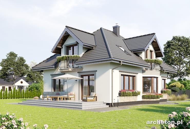 Projekt domu Hortensja Atu - dom o tradycyjnej i bogatej w detale bryle, z garażem na dwa samochody