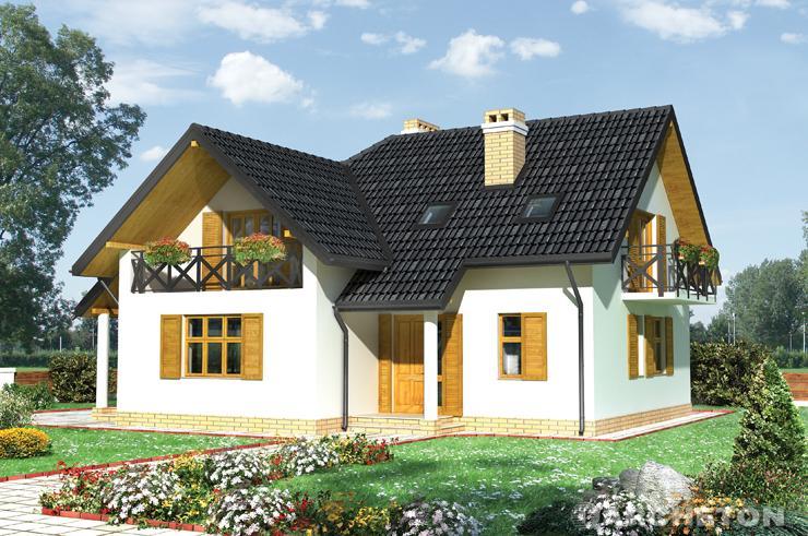 Projekt domu Iga - dom na planie litery L wzbogacony logią nad wejściem