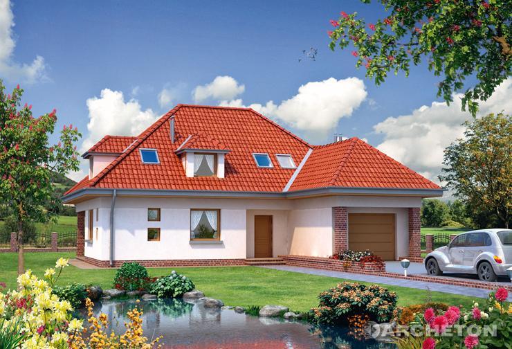 Projekt domu Impresja - ciekawy dom z wysuniętym garażem, dostępnym tylko z zewnątrz