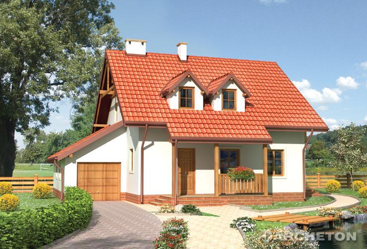 Projekt domu Irga - nieduży dom z dostawionym garażem jednostanowiskowym
