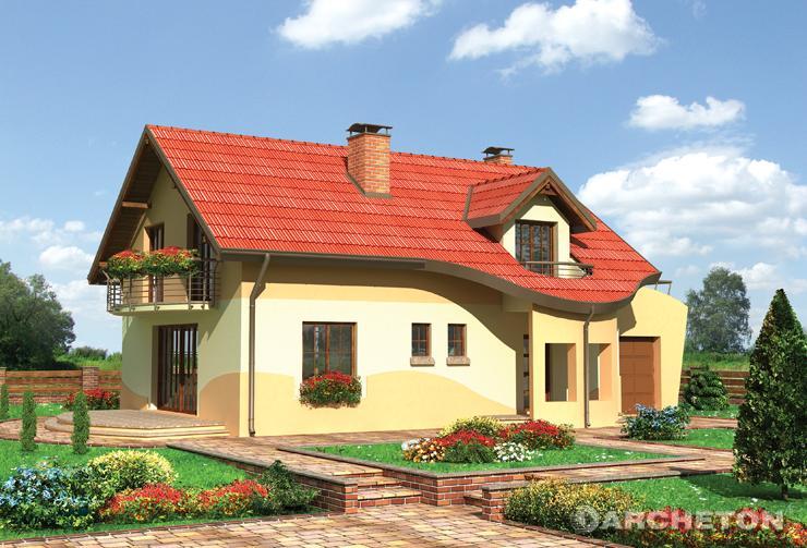 Projekt domu Irmina - ciekawy dom z przeszkloną jadalnią i antresolą w części korytarza