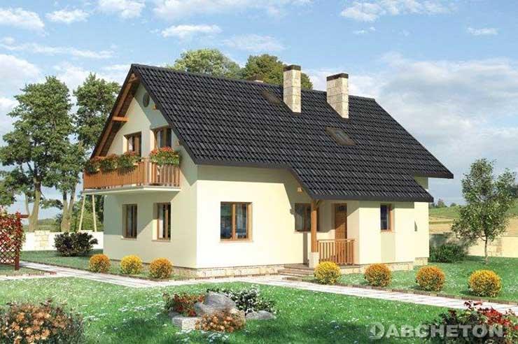 Projekt domu Irys - Prosty i przytulny dom z dostawionym podcieniem wejścia i sieni