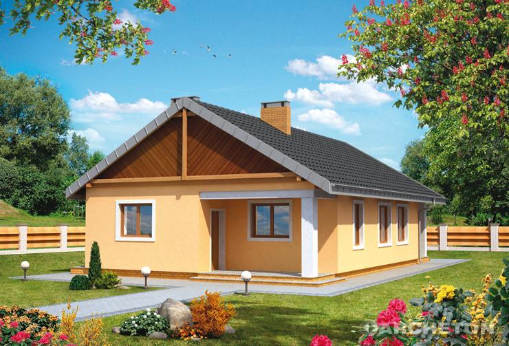 Projekt domu Iskierka - mały domek jednorodzinny na planie prostokąta