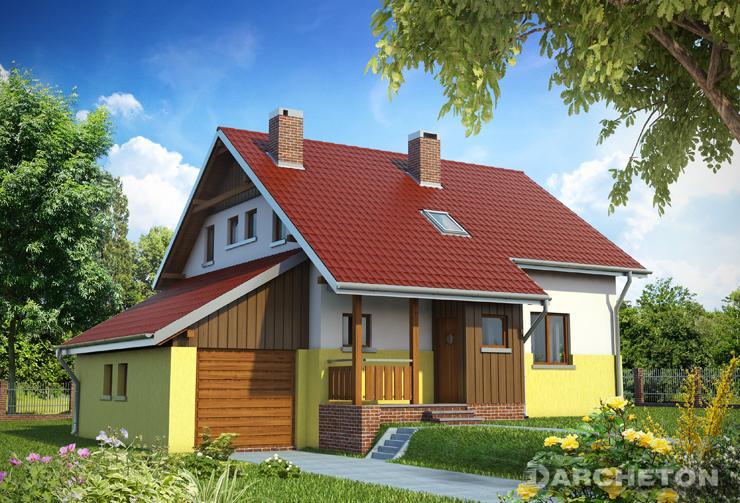 Projekt domu Iwa - malowniczy domek na działkę o lekkim nachyleniu, z gankiem wejściowym