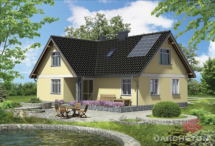 Projekt domu Izabela - dom w kształcie litery L, z garażem w bryle budynku