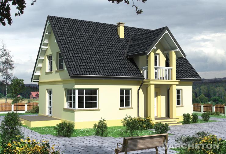 Projekt domu Janko - elegancki dom z ryzalitem klatki schodowej i poddasza