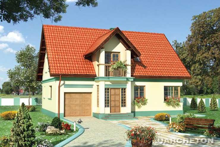 Projekt domu Janko-2 - dom urozmaicony ryzalitem klatki schodowej i balkonem na poddaszu