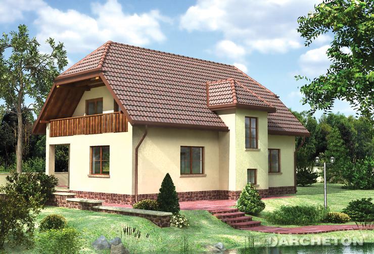Projekt domu Jantar - dom pokryty dachem naczółkowym, idealny dla sześcioosobowej rodziny