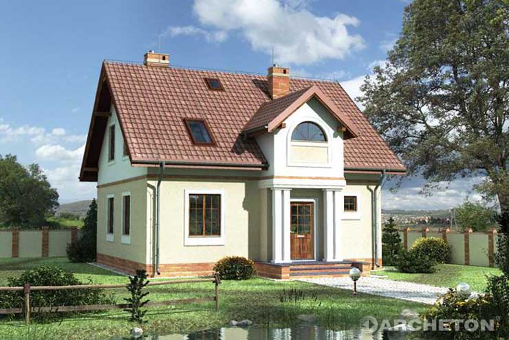 Projekt domu Jaromir - dom z użytkowym poddaszem, przeznaczony jest dla 4-6 osobowej rodziny