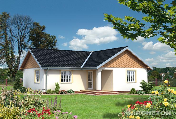 Projekt domu Jaśmin - przytulny domek parterowy, na rzucie w kształcie litery T