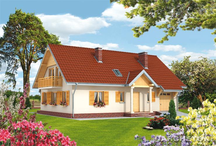 Projekt domu Jawor - elegancki dom na planie prostokąta z drewnianymi okiennicami