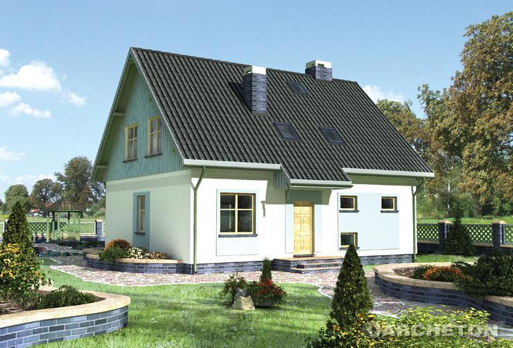 Projekt domu Jędrzej - dom wzbogacony drewnianymi ramami oraz opaskami okien parteru