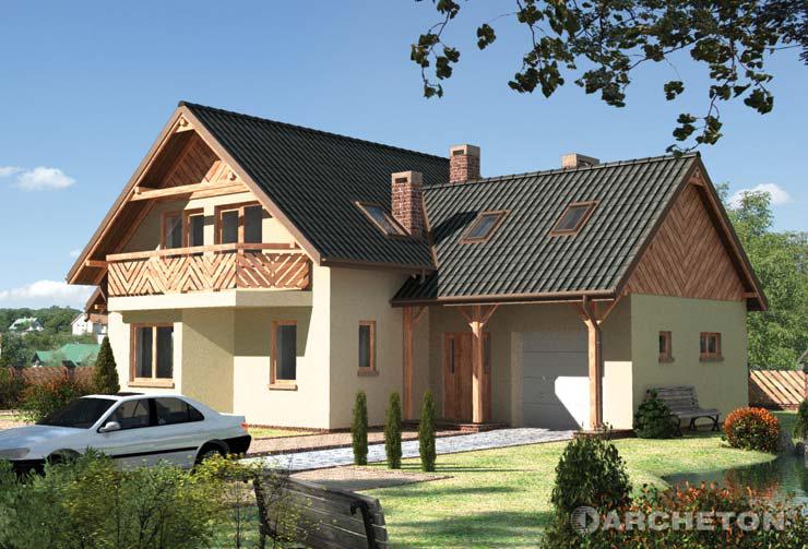 Projekt domu Jelonek - malowniczy dom ze strychem nad garażem