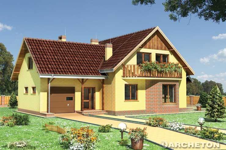 Projekt domu Jelonek-2 - dom z balkonem nad wysuniętą częścią pokoju dziennego