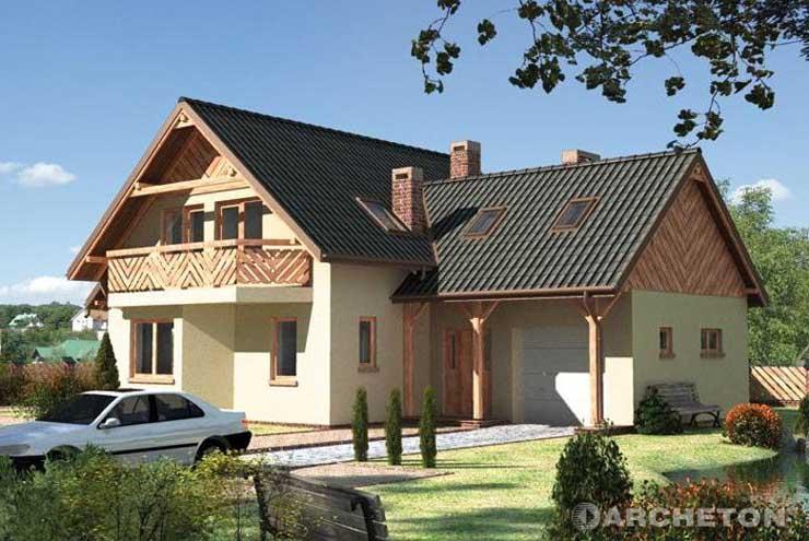 Projekt domu Jelonek - dom z wyraźnym podziałem na część mieszkalną i gospodarczą