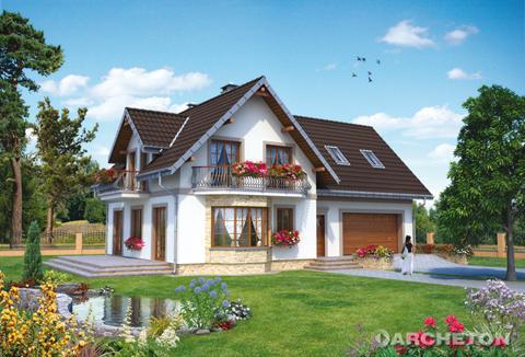 Одноэтажный дом, с эксплуатационным чердаком, с гаражом для 2 автомобилей