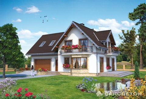 Проект компактного дома с гаражем