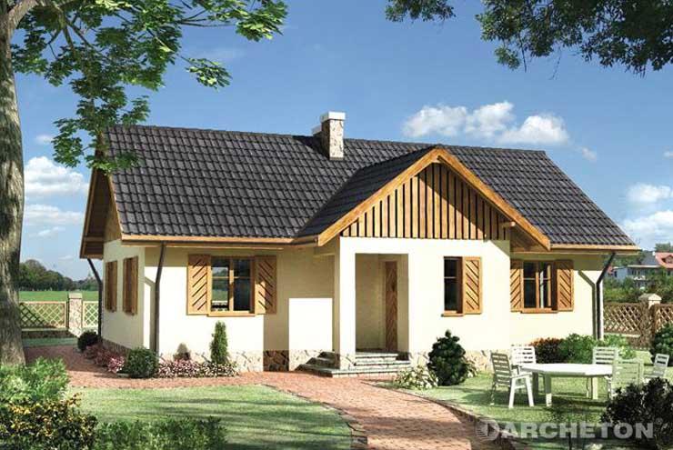 Projekt domu Jemioła - nieduży domek z częściowo użytkowym poddaszem, z drewnianymi okiennicami