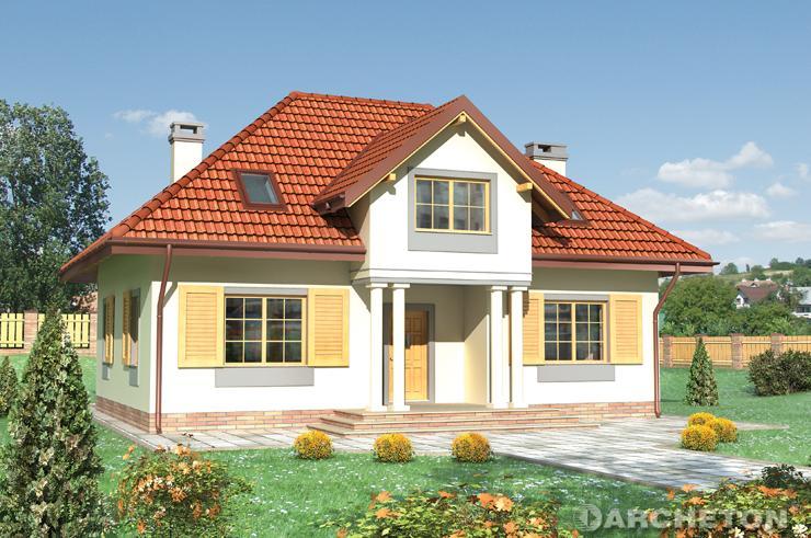 Projekt domu Jeremiasz - dom z dwiema lukarnami, jedną nad wejściem a drugą od strony ogrodu