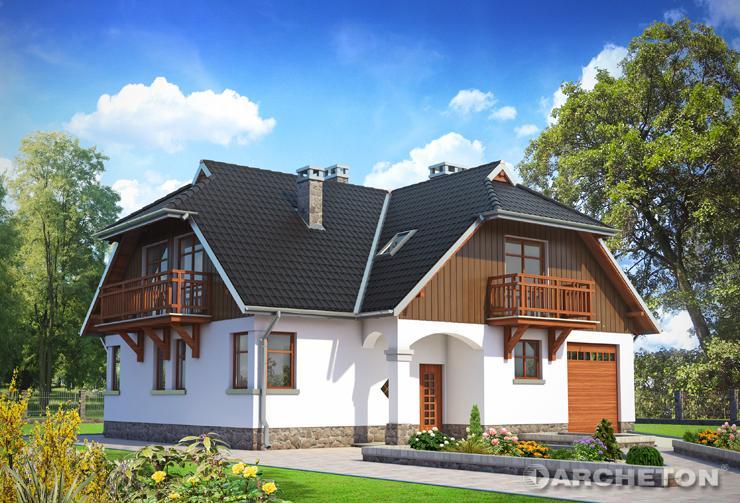 Projekt domu Jonasz - malowniczy dom z przepięknymi lukarnami i drewnianymi balkonami