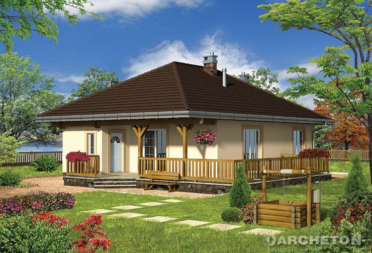 Projekt domu Julia-2 - mały domek parterowy z dachem o nachyleniu 30 stopni