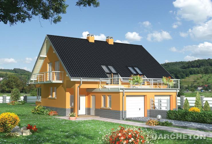 Projekt domu Juta Duo - dom do zabudowy bliźniaczej, z tarasem nad garażem