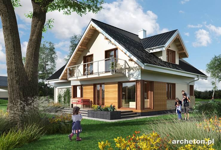 Projekt domu Kaja Muza - dom z użytkowym poddaszem i garażem dwustanowiskowym, idealny dla 5 osób