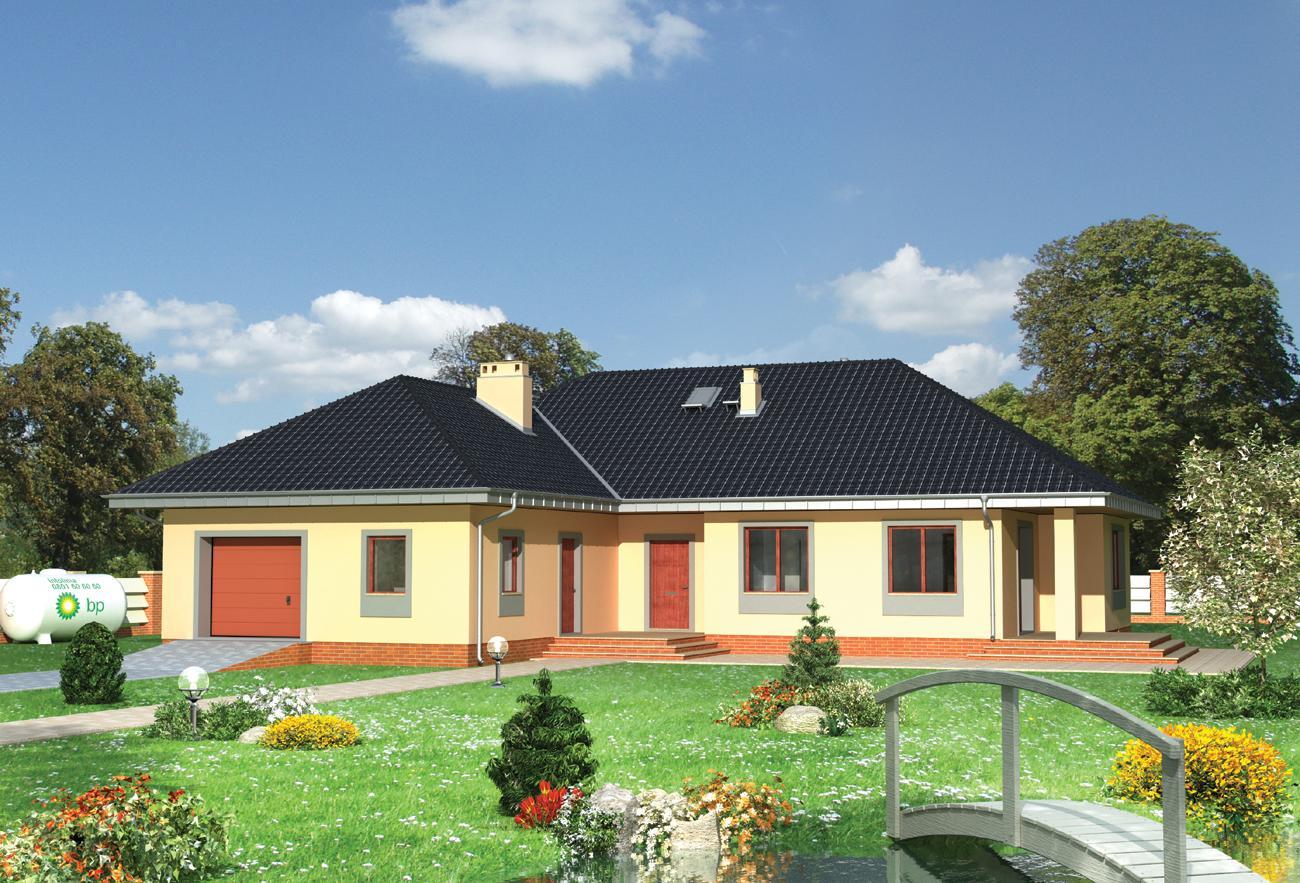 Projekt Domu Kajetan Dom Parterowy W Kształcie Litery L Z Dużym