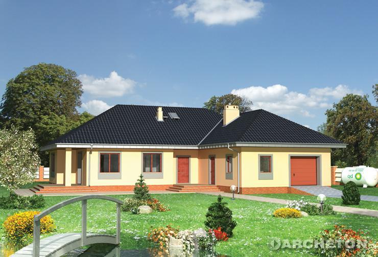Projekt domu Kajetan - dom parterowy w kształcie litery L, z dużym garażem
