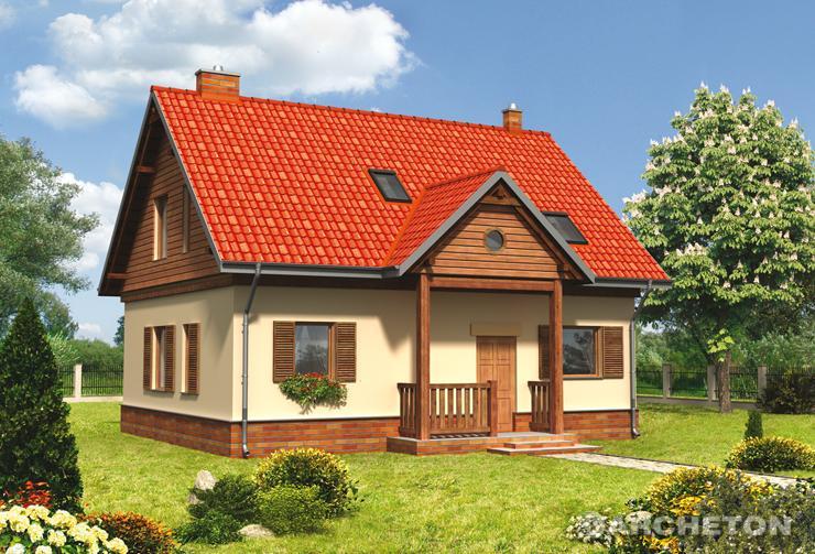 Projekt domu Kajko - klasyczny i niewielki domek z drewnianym gankiem