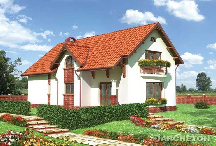 Projekt domu Kajman - duży dom z ryzalitem w pokoju dziennym