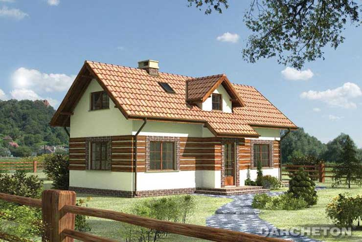 Projekt domu Kąkol - dom jednorodzinny urozmaicony deskownią całej elewacji