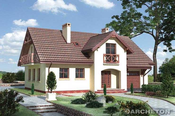 Projekt domu Kalcyt - dom z dużymi sypialniami na poddaszu, z pergolą od ogrodu zacieniającą taras