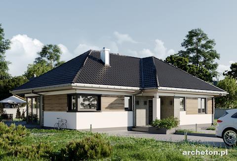 Projekt domu Kalina - parterowy dom bez piwnicy na rzucie litery T
