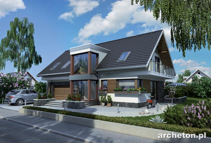 Projekt domu Kalipso - nowoczesna propozycja domu jednorodzinnego, z pięknym przeszkleniem