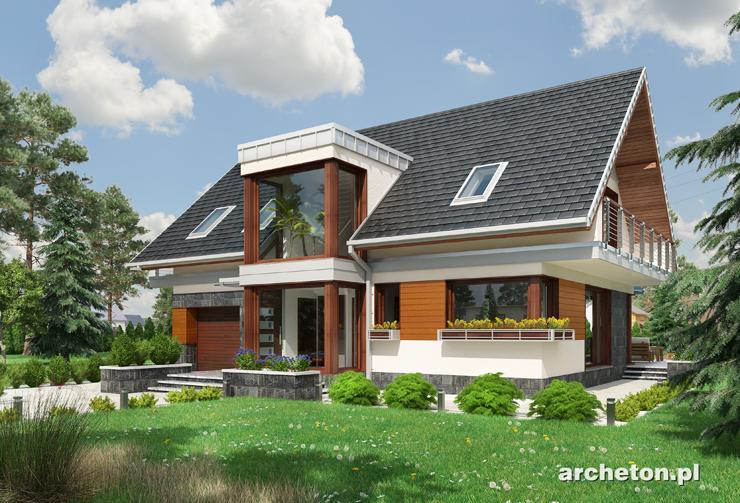 Projekt domu Kalipso G1 - nowoczesny dom, z charakterystycznym przeszklonym ryzalitem