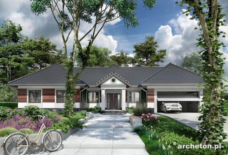 Projekt domu Kamieniec - ciekawy i przestronny dom parterowy, z garażem dwustanowiskowym