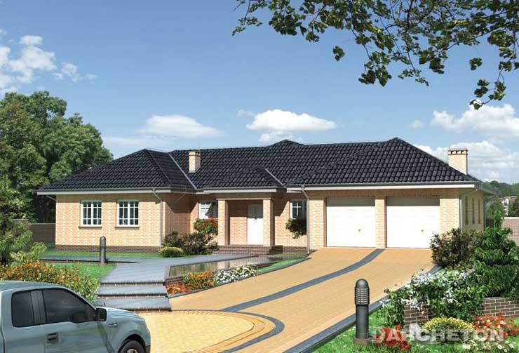 Projekt domu Kamieniec - rozłożysty dom parterowy z dużym garażem na dwa samochody