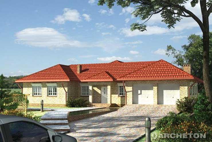 Projekt domu Kamieniec - rozłożysty dom parterowy z garażem na dwa samochody