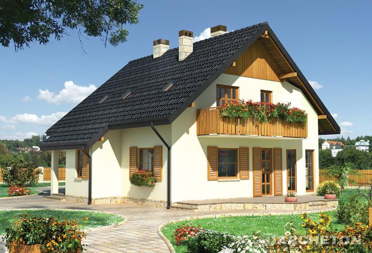 Projekt domu Kamil - prosty i przytulny dom na rzucie prostokąta z wykuszem od strony ogrodu