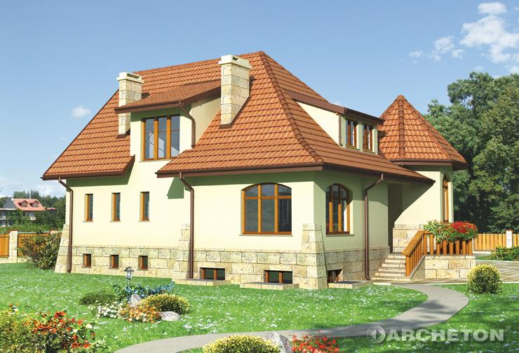 Projekt domu Kaprys - duży i malowniczy dom z wielobocznym alkierzem