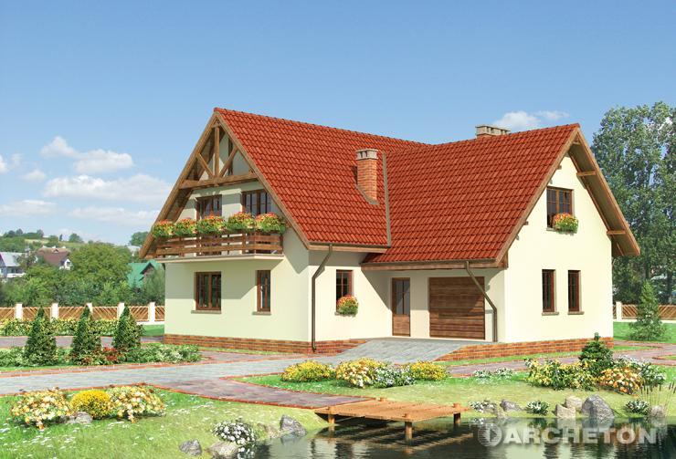Projekt domu Karat - dom jednorodzinny z podcieniami balkonu i tarasu
